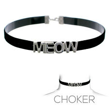 """Women Fashion Black Choker Necklace With Silver """"Meow"""" Colored Letters"""
