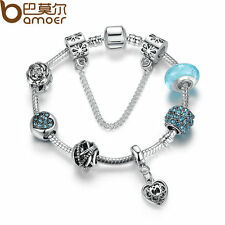 Bamoer Simple European Silver Charms Bracelets With Blue CZ Beads For Women 20cm