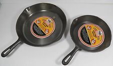 "VINTAGE LOT OF TWO 8"" & 10-1/2"" PIONEER CAST IRON SKILLETS PRE-SEASONED CAMPING"