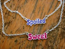 """Pair of Girly Necklaces on Silver-Tone Chains: SWEET and SPOILED, 16"""", Enamel"""