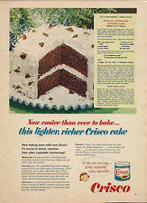 1963 CRISCO AD Vintage Food~Chocolate Coconut Cake Recipe~Baking