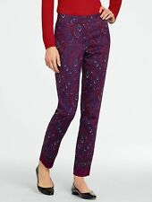 NEW $129 TALBOTS Signature Burgundy,Red Paisley Cotton,Silk Ankle Pants Sz 14