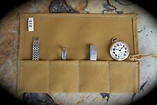 Handmade Tan Canvas Watch Roll, 4 Slot