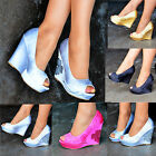 Ladies Satin Peep toe Wedges Diamante Womens Party Shoes High heels Size WM22-20