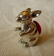 Solid sterling silver miniature RABBIT SITTING UPRIGHT PIN CUSHION (red)