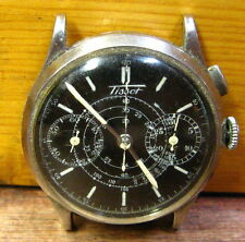Tissot Single Pusher Chronograph Watch Black Face White Hand No Band Not Running