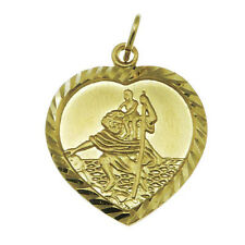 HEART SHAPED 9CT GOLD ST SAINT CHRISTOPHER PENDANT CHAIN NECKLACE WITH GIFT BOX