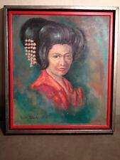"""Original Vintage Violet Clark Oil Painting """"Geisha"""" -Framed"""