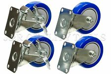 "Set Of Four 4"" Heavy Duty PU Swivel Casters, Blue Wheel, 2 With Brake, 2 Without"