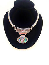 New Vintage Style Abalone Shell Drop Pendant Silver Statement Choker Necklace