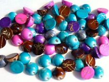 PACK OF APPROX. 75 HALF ROUND DRAWBENCH BEADS - 8mm - MIXED COLOURS.......B277 *