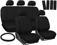 Car Seat Covers Black 17pc Full Set for Auto w/Steering Wheel/Belt Pad/Head Rest
