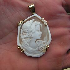 Exceptional Antique Victorian  Carved Shell Cameo Portrait