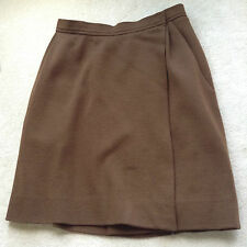 VINTAGE 1980's YSL YVES SAINT LAURENT BROWN WOOL SILK LINED SKIRT 38 UK 10 Short
