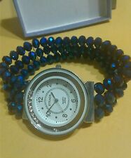 "BLUE TRIPLE STRAND CRYSTAL LARGE FACE WATCH W/CRYSTALS FITS 7"" TO 10"""