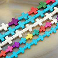 """Cute Little Mix Color Howlite Turquoise Side Ways Crosses Beads 16"""" Pick"""