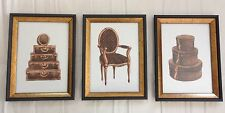SET OF (3) LOUIS VUITTON WATERCOLOR ART PRINTS (5x7)  FRAMED FREE SHIPPING
