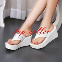 Summer Women's Wedge High Heels Platform Shoes Slipper Sandal Loafer Flip Flops