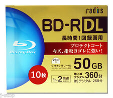10 Radius Blu Ray BD-R DL 4x Rohlinge 50GB Full Printable Region Free Blu-ray