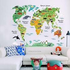 Sticker Kids Nursery Room Animal World Map PVC Wall Decal Removable Home Decor
