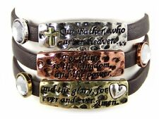 4030080a Our Father Lords Prayer Leather Wrap Bracelet Christian Scripture Re...