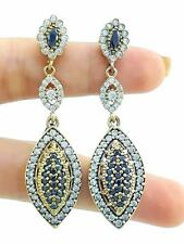 925 STERLING SILVER ONYX SAPPHIRE EARRINGS TURKISH Costume Jewelry Women E1364
