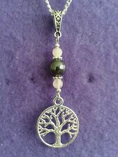Tree of Life Necklace * Rose Quartz Hematite Gemstones Pagan Green Man Charms