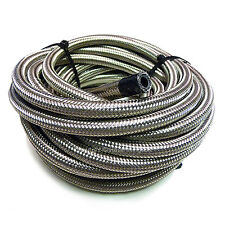 "AN-12 11/16"" 17MM Stainless Steel Braided RUBBER Fuel Oil Hose Pipe 1/2 Metre"