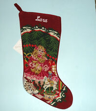 "Sferra Needlepoint Stocking Monogrammed Name ""Lara"" DOLL UNDER TREE Handmade New"
