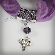 Handcrafted Scarf Ring, Scarf Clip, Silvertone ELEPHANT Pendant, Crystal Beading