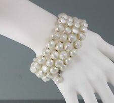 Vintage 50's White Faux Pearl Bead Memory Wire Bracelet