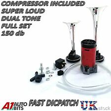 12V CHROME TWIN DUAL TONE AIR HORNS KIT FOR CAR BOAT VAN TRUCK LOUD HORN TRUMPET
