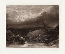 "Attractive 1800s John Linnell Antique Print ""Windmill and Cattle Landscape"" COA"