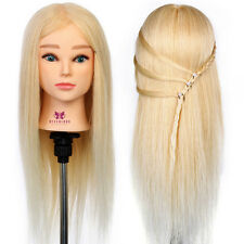 New Salon Hairdressing Training head 100% Real Human Hair Mannequin Doll + Clamp