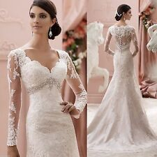 New Long Sleeve Mermaid Lace Applique Wedding Dress Custom Size Vestido De Noiva
