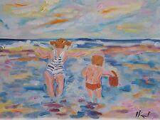 """Tableau peinture Huile sur toile 40cm/30cm """" marine enfants """" Picard Art paintin"""