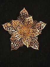 VINTAGE GOLD TONE SIGNED ORNATE FLOWER BROOCH~COROCRAFT