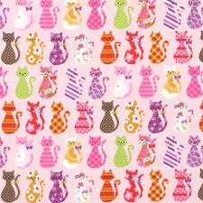 "KOKKA ""COLORFUL CATS"" Pink Oxford Cotton by the 1/2 yard"