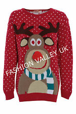 WOMENS MEN 3D RUDOLPH REINDEER CHRISTMAS NOVELTY KNITTED JUMPER XMAS SWEATER
