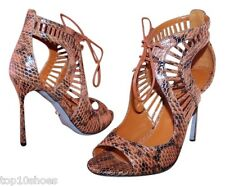 $1195 SERGIO ROSSI CUTOUT SNAKESKIN PYTHON LACE UP SANDALS BROWN CURRY SHOES 37