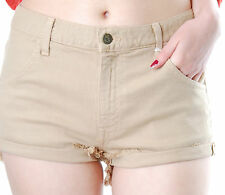 Wildfox Women's Michelle Shorts Hotpants Medium With Pockets Light Brown BCF59