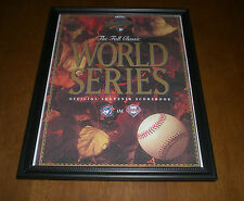 1993 BLUE JAYS vs PHILLIES FRAMED COLOR WORLD SERIES SCOREBOOK PRINT