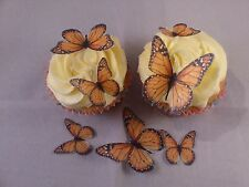 36 Mixed Size Golden Orange  *Sweet* Edible Butterflies Cake Toppers