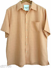 NWT Mens Silk Linen Camp Shirt Cool Hawaiian Solid Beach Short Sleeved New Large