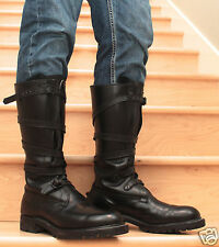 Mens  Extra Tall Black Full Leather Dehner Tanker Boots US Size 10 1/2 - 11 1/2D