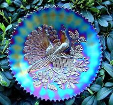 """NORTHWOOD""""CARNIVAL GLASS""""PEACOCKS ON THE FENCE""""c1911""""AMETHYST""""9""""PLATE""""VERY MINTY"""