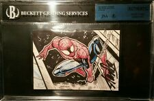 Stan Lee Signed 2014 UD Marvel Premier AUTO Spiderman Sketch Card 2 Panel JSABGS