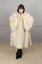 "PLUS SIZE BEIGE BLUSH AND WHITE FOX FUR SWING COAT 78"" BUST WOMENS MENS UNISEX"
