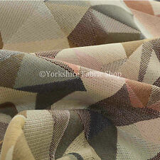 Geometric Funky Pattern White Brown Pink Colour Chenille Upholstery New Fabric