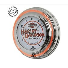 Harley-Davidson® Motorcycles Double Neon Orange-White Round Wall Clock HDL-16623